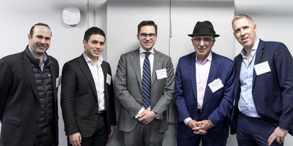 (l-r): Yehuda Kessock, Moshe Benscher, Aaron Strassman, Baruch Deutsch, and Eli Davidoff