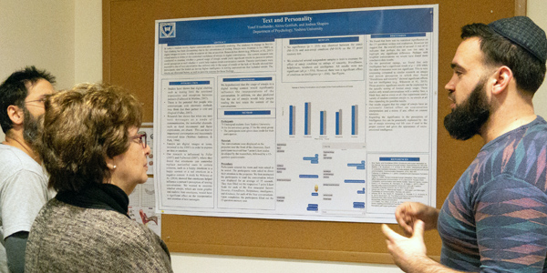 Psychology students present their poster on Text and Personality
