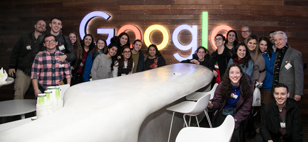 Current students take a trip to visit tech startups in Israel. Group Photo at Google