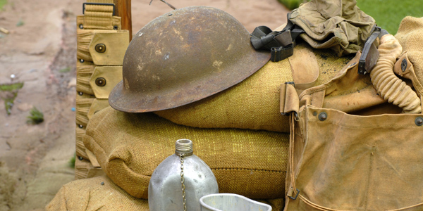 Several items displayed from a World War I soldier
