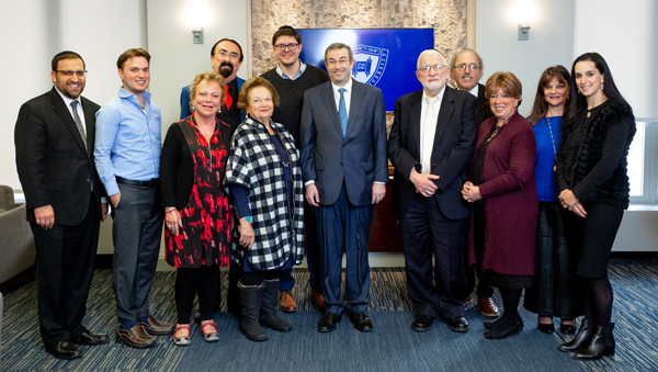 Reception for the Katz Family following the launch of the YUTorah App event in the President's office. Adina Katz and her family attended.