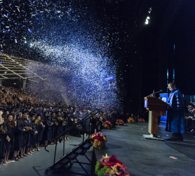 Confetti cannons at YU Commencement