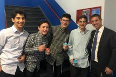 Orientation 2019 - Four boys with Josh Kahn