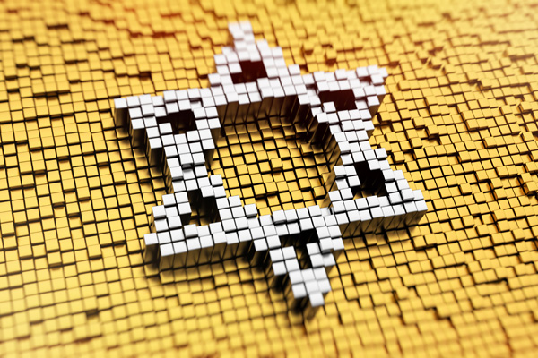 Pixelated symbol of Magen David made from cubes, mosaic pattern