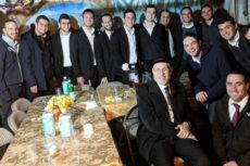 Rabbi Adler with students in the Sukkot 2019