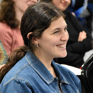 Audience member at lecture by Rabbi Yakov Nagen