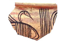 Sherd of Philistine pottery with a bird figure