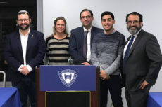 Group photo: (l-r): Brian Fincheltub, Dr. Maria Zaitseva, Diego Area, Aharon Benchimol, Dr. Ronnie Perelis