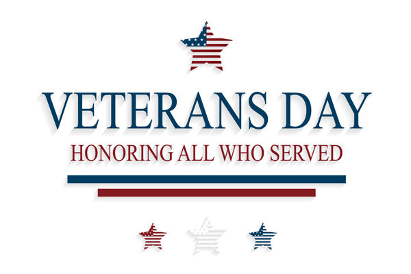 Veterans Day greeting card with stars on white background. Honoring all who served. Vector illustration. EPS10