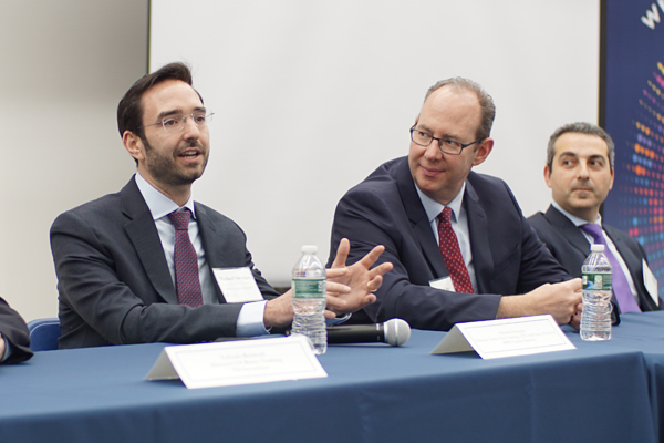(l-r): Michael Strongin, Director, Delta One Trading, ETF and Index Products, BMO Capital Markets; Steve Kahn, Head of Operations, Talpion; Alex Zarzhevsky, Managing Director, The Blackstone Group