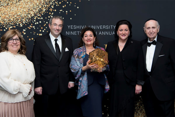 (l-r): Dr. Rona Novick, Dean of the Azrieli Graduate School of Jewish Education and Administration; Dr. Ari Berman, President of Yeshiva University; Dr. Sharon Azrieli; Dr. Naomi Azrieli, Chair of the Azrieli Foundation; Dr. Herbert Dobrinsky, Vice President for University Affairs