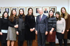 Miri Yoskowitz and Michael Strauss with students