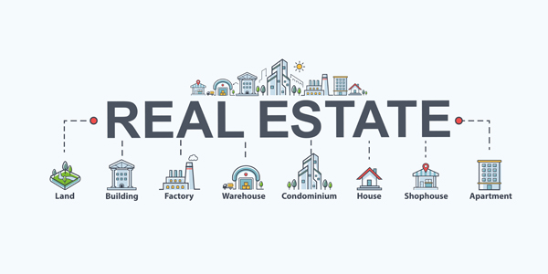 Real estate banner web icon for property and investment. Land, building, factory, warehouse, condominium, shophouse and apartment. Minimal vector infographic.