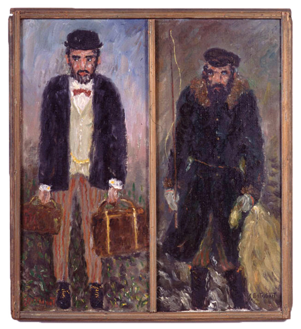 Two men side by side: left dressed in new world clothing, right dressed in old world clothing