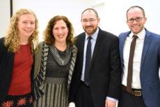 Group shot: (l-r): Cynthia Wachtell, Dara Horn, Rabbi Dov Lerner, Rabbi Dr. Stu Halpern