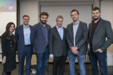 (l-r): Evelyn Havasi (co-chair, Wall Street Group), Lawrence Askowitz (co-chair, Wall Street Group), Zachary Wasserman, Michael Granoff, Paul Suhey, Sam Jurkowicz