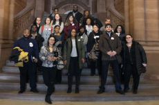 Wurzweiler faculty and students on the steps of the state capitol