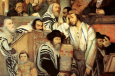 Maurycy Gottlieb, Jews Praying in the Synagogue on Yom Kippur, 1878, oil on canvas, Tel Aviv Museum of Art