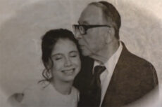 "Mollie with her grandfather, Chazzan Joseph Guttman z""l"