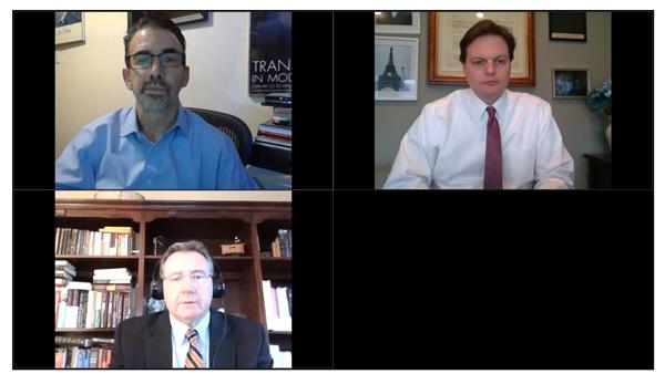 Zoom meeting: Dr. James Kahn (upper left), Kevin Kliesen (bottom left), Donald Rissmiller, Moderator (upper right)