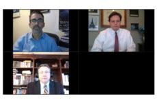Dr. James Kahn (upper left), Kevin Kliesen (bottom left), Donald Rissmiller, Moderator (upper right)
