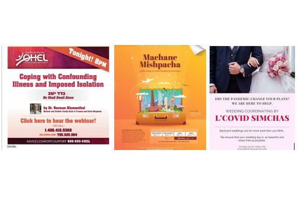 Three posters about COVID-19 and Jewish practices