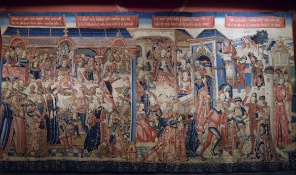 Tapestry Series Esther and Ahasueros (1490) Banquet Detail (Panel I)
