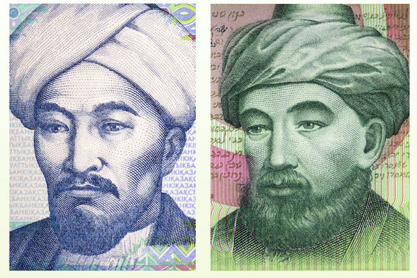 A composite photo of Al-Farabi and Maimonides, with Al-Farabi (left) and Maimonides (right)