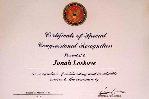 Certificate of appreciation for Jonan Loskove