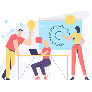 Teamwork related, vector illustration concept for application and website development. The illustration contains business people, employees, clients, men and woman characters.