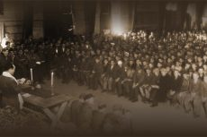 A picture of Jews at Buchenwald being ministered to by Rabbi Herschel Schacter