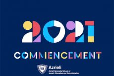 Placard showing the number 2021, the word commencement, and the Azrieli logo