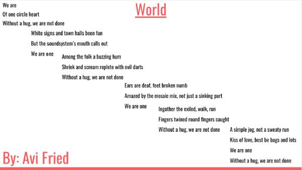 "A poem by Avi Fried title ""World"""