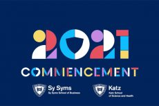 Commencement placard for the 2021 Sy Sym/Katz School co-celebration