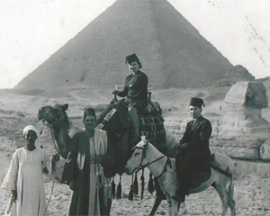 Adina Lobada's great-grandmother in front of pyramid in Egypt