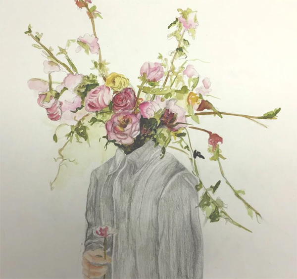 A person's head is replaced by a vibrant bouquet of flowers by Goldie Sion