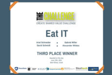 Certificate showing third place showing for the app Eat IT.