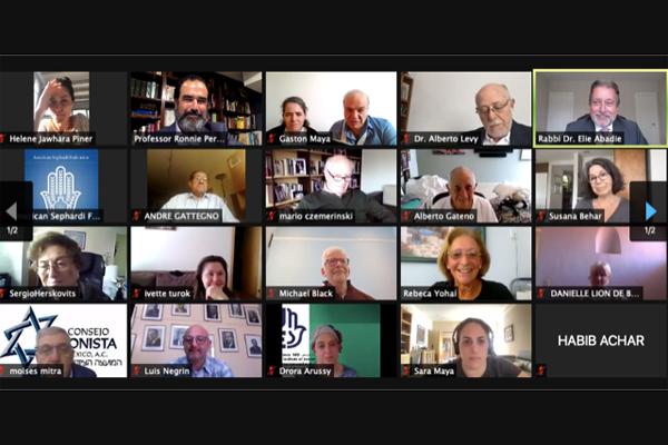 Zoom screenshot of Rabbi Abadie speaking to the audience