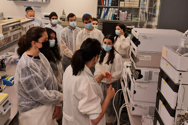 Student interns exploring research labs at BioLineRX in Modi'in Israel