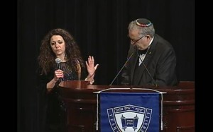 Savyon Lang honored (with President Richard Joel).               Click image to see video.