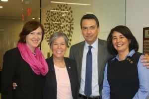 Left to right:  Dr. Darla Spence Coffey, President and CEO of CSWE; Dr. Carmen Ortiz Hendricks, Chair of CSWE's Commission on Accreditation; Dr. Alan Detlaff, Chair of the Commission on Educational Policy; and Dr. Jo Ann Regan, Director of Social Work Accreditation.
